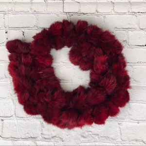 New York and Company rabbit fur scarf in red